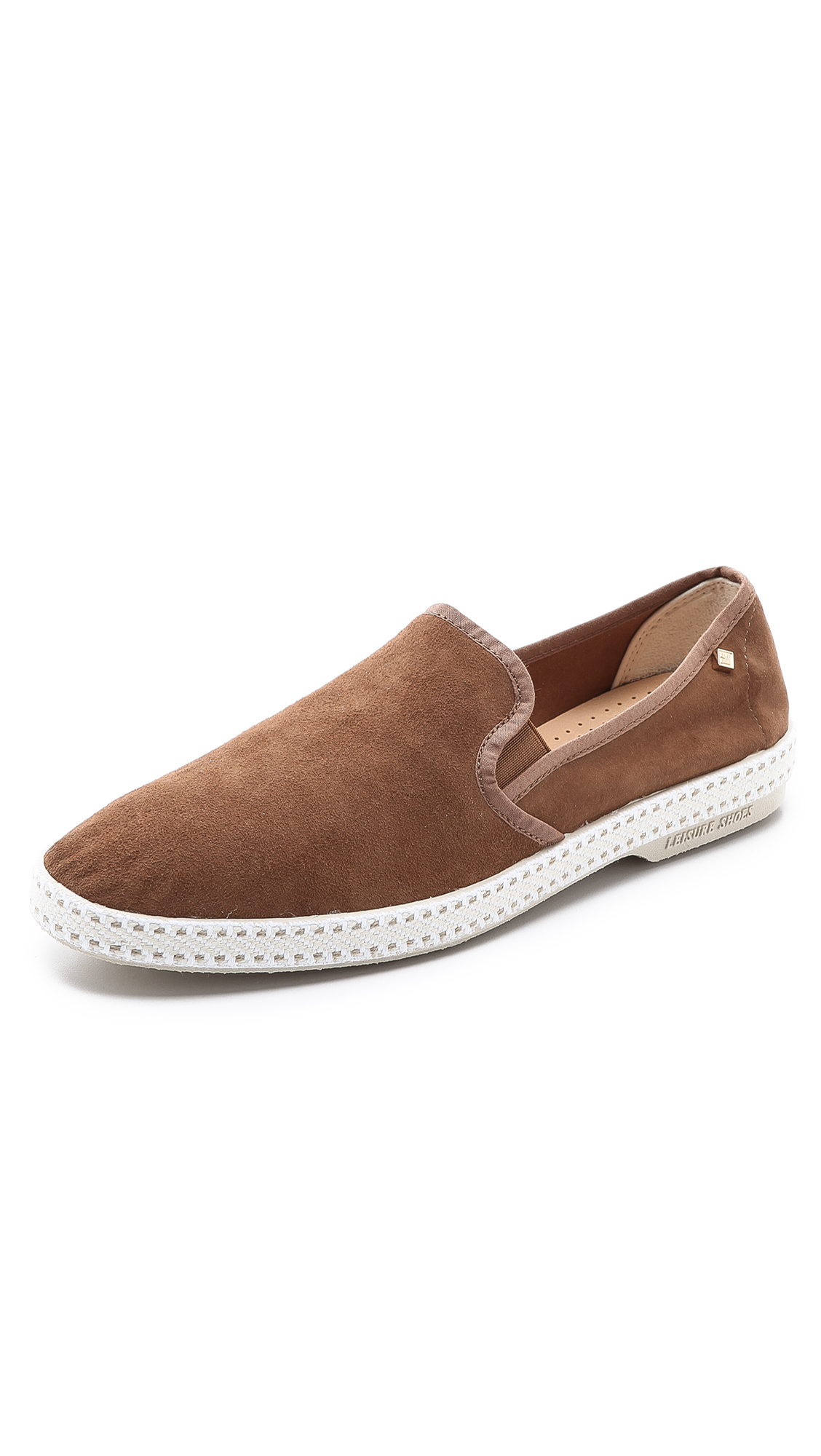 rivieras suede sultan slip on shoes in brown for lyst
