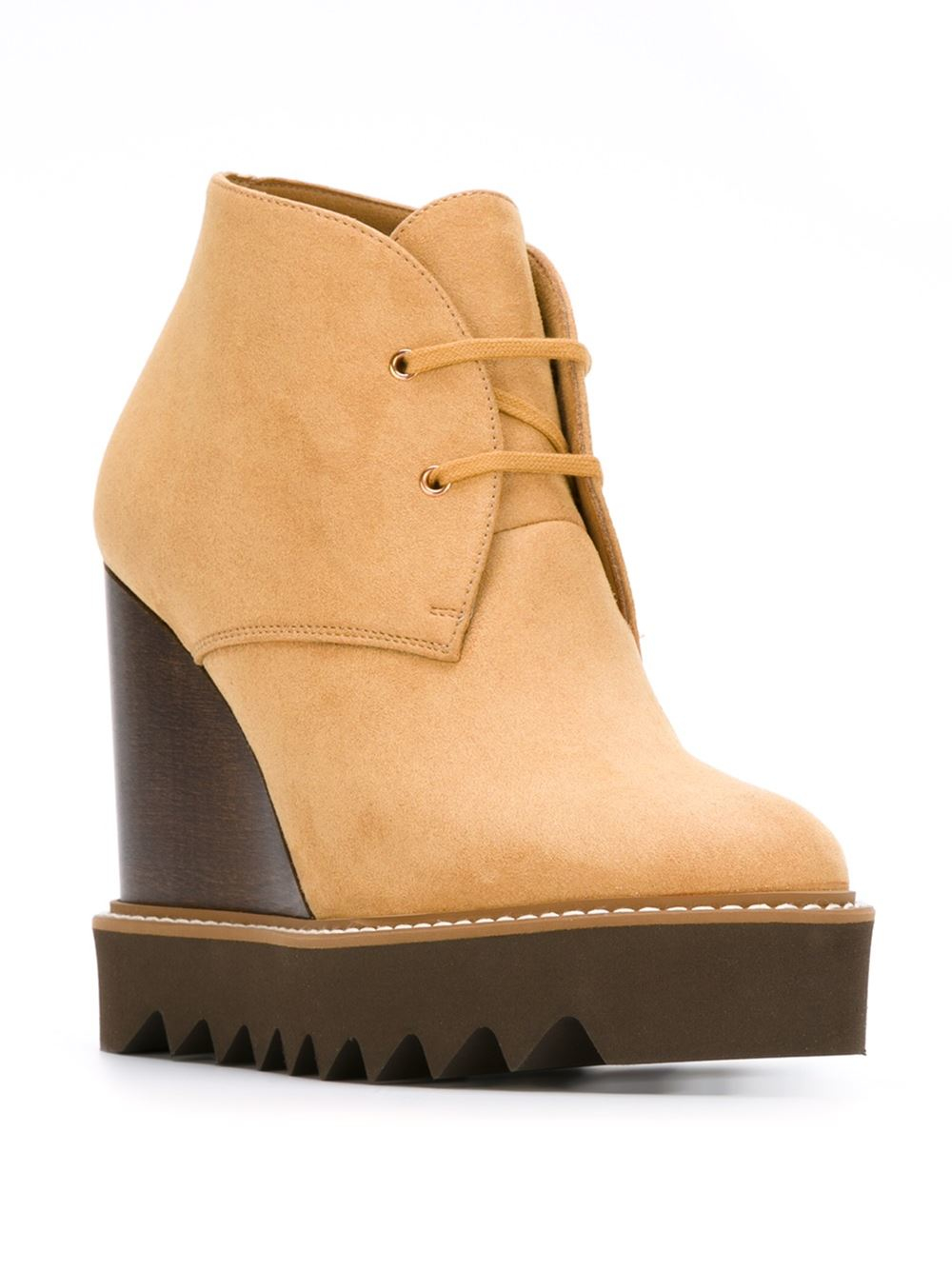 stella mccartney laena wedge boots in brown lyst