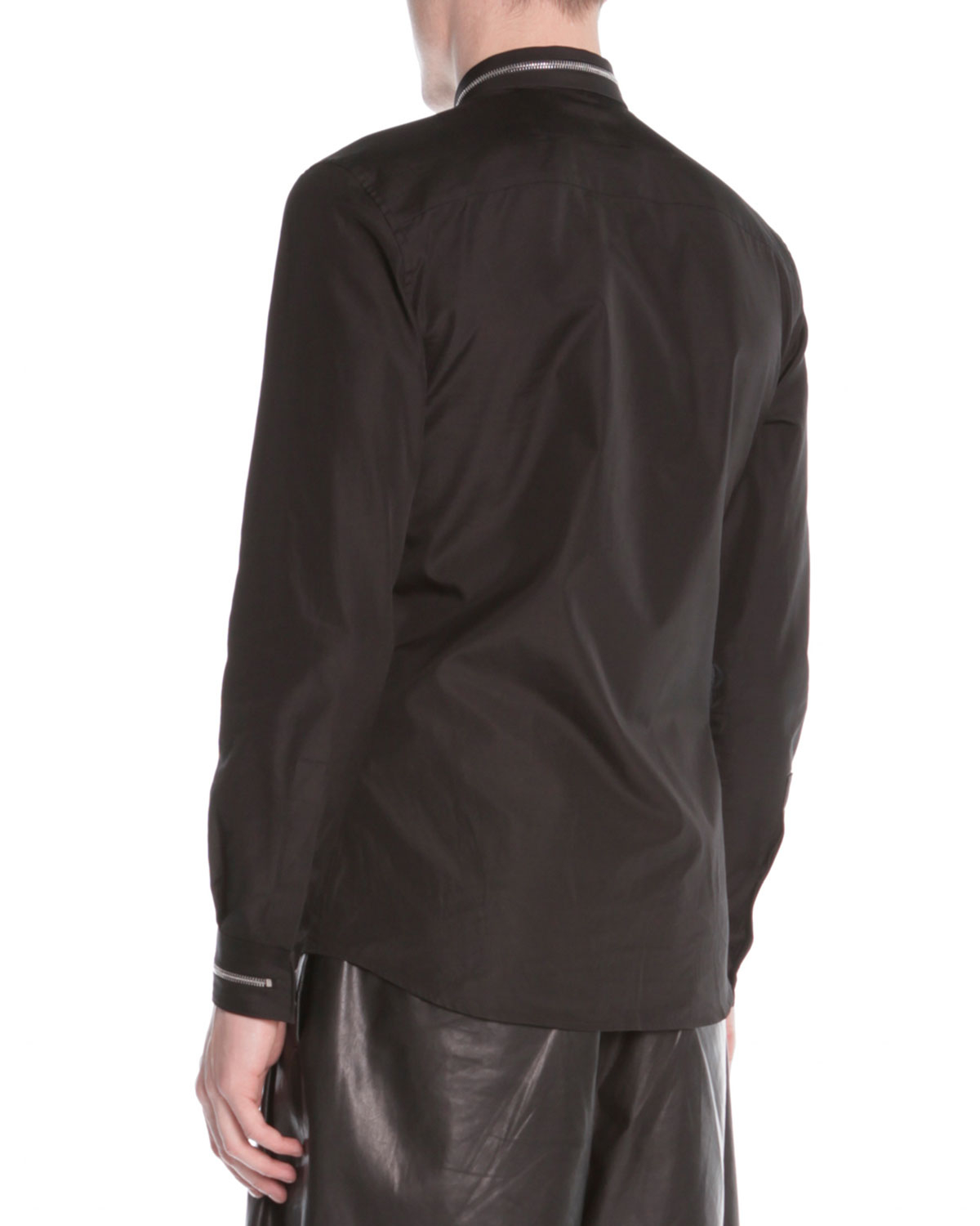 Lyst givenchy zip collar dress shirt in black for men for Zip up dress shirt