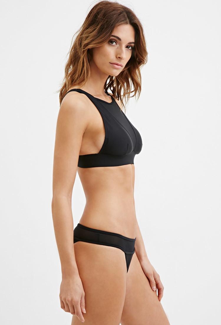 lyst forever 21 mesh paneled high neck bikini top in black. Black Bedroom Furniture Sets. Home Design Ideas