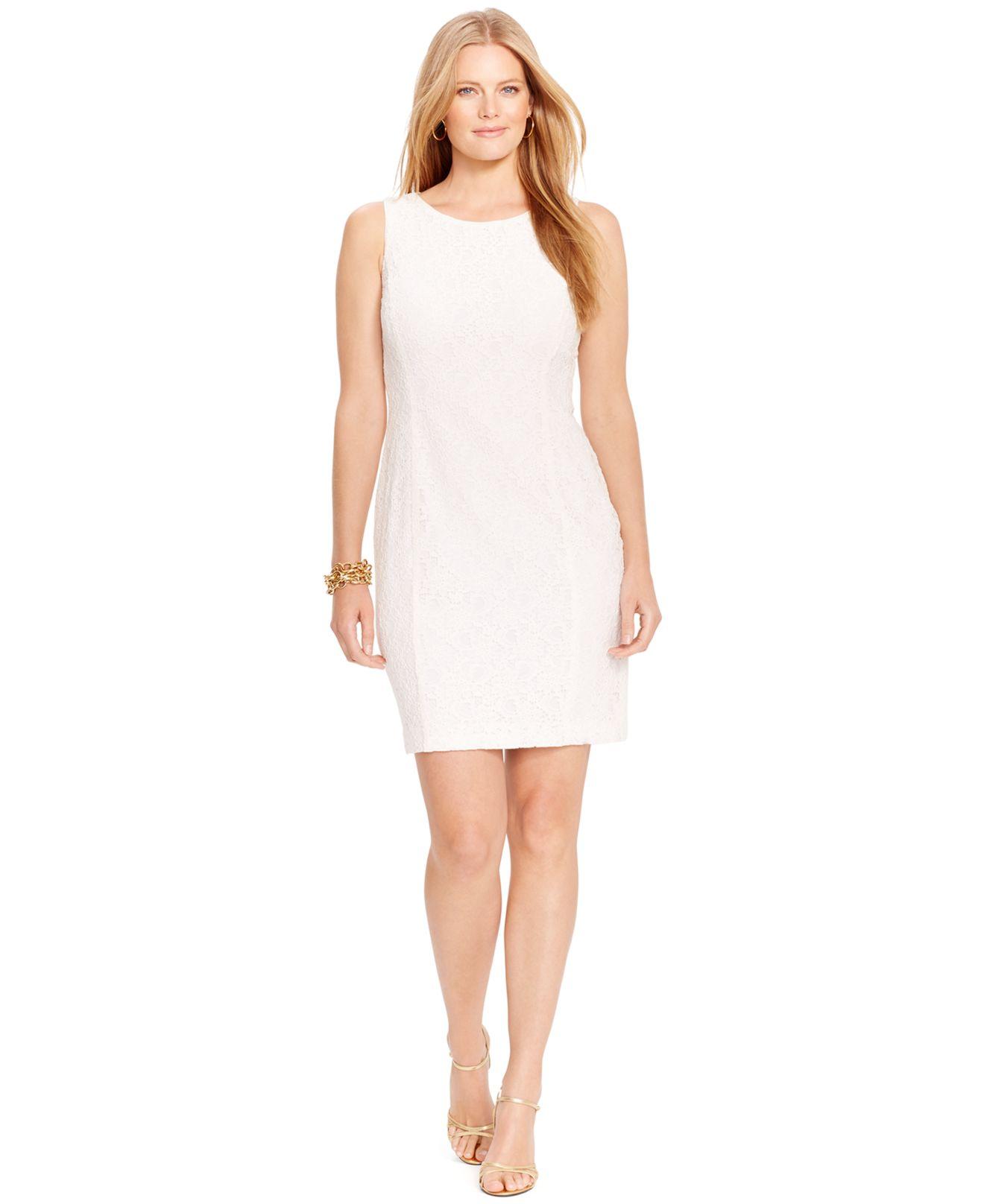 Lyst Lauren By Ralph Lauren Plus Size Sleeveless Lace Dress In White