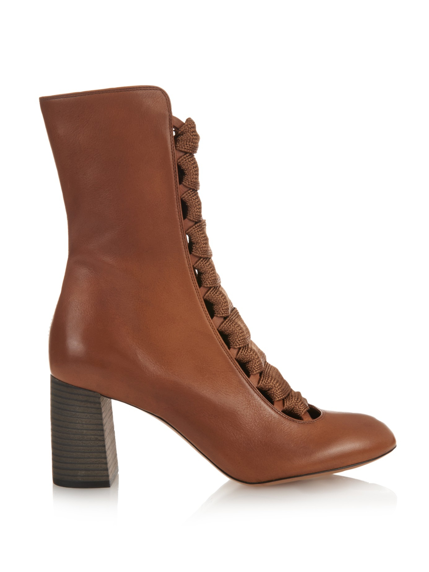 chlo 233 lace up leather ankle boots in brown lyst