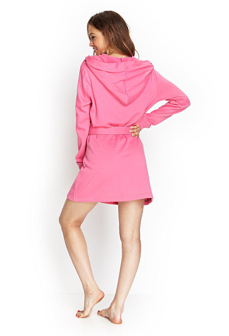 Lyst Forever 21 Hooded Terrycloth Robe In Pink