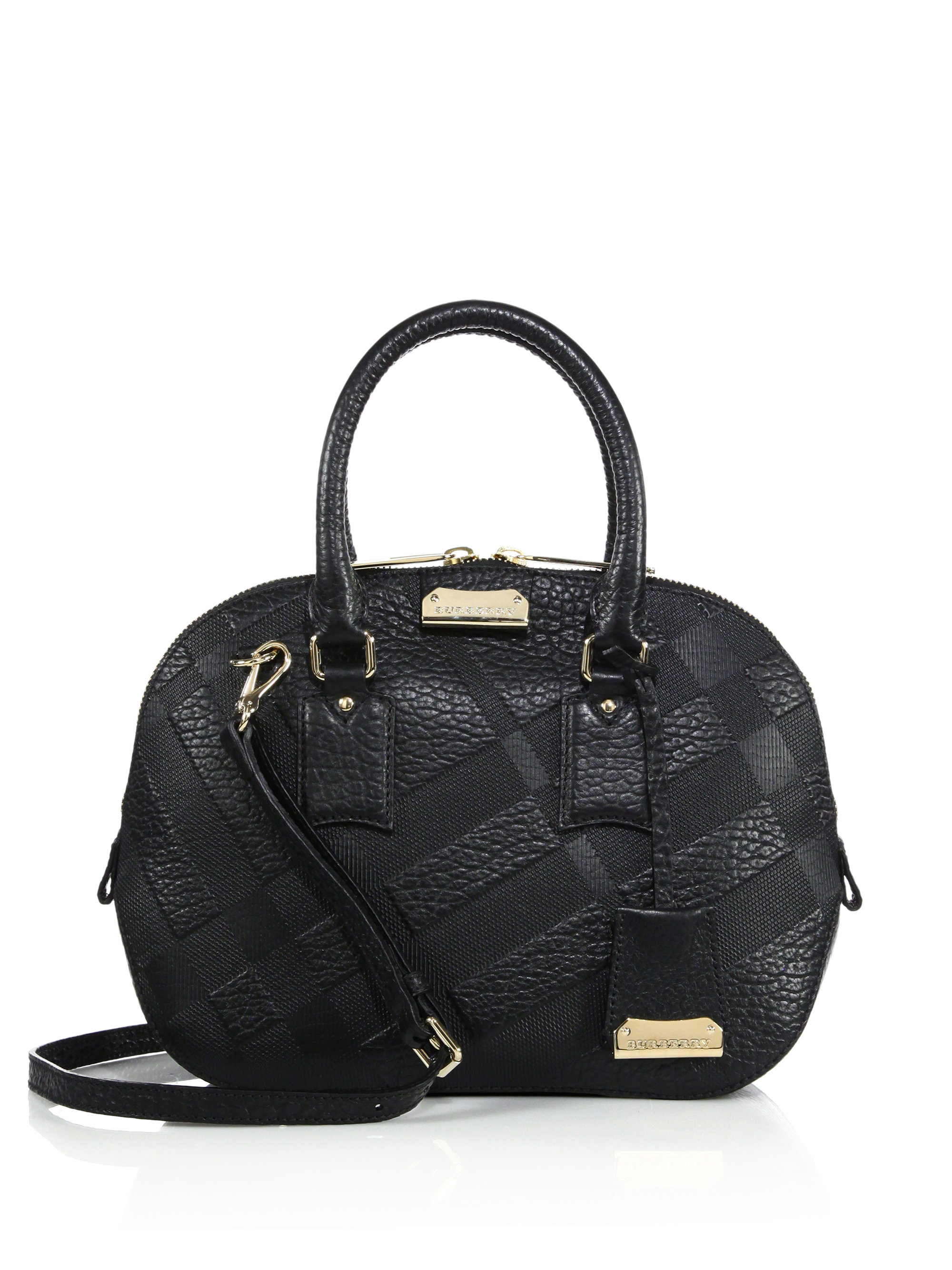 2bcaa5be16a Lyst - Burberry Orchard Small Checked-Leather Tote in Black