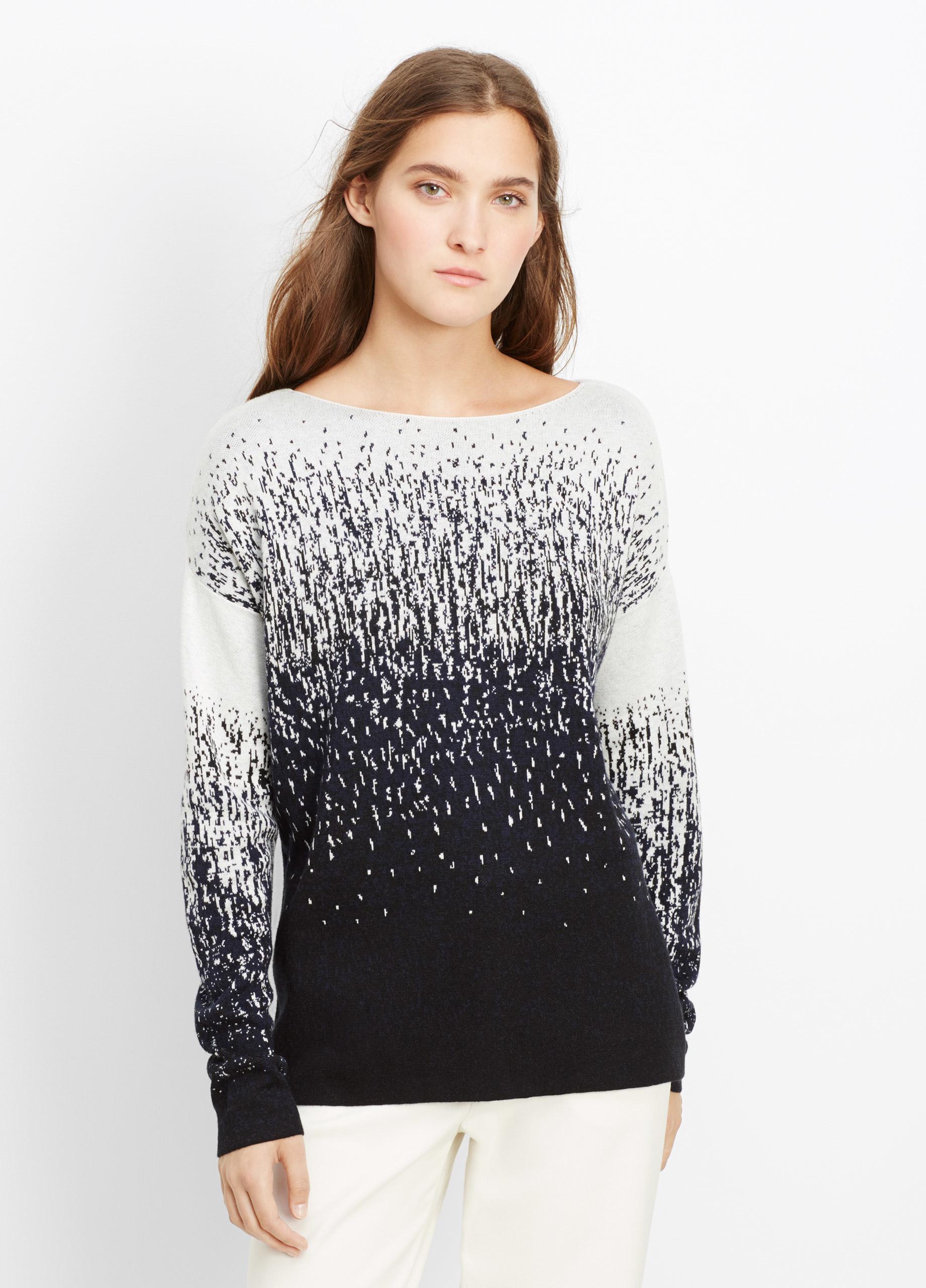 Vince Ombré Jacquard Boatneck Sweater in Black | Lyst