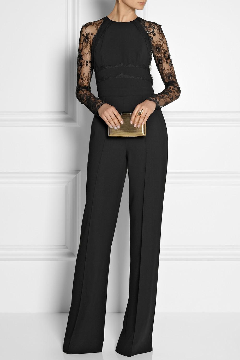 Lyst Elie Saab Paneled Lace And Crepe Jumpsuit In Black