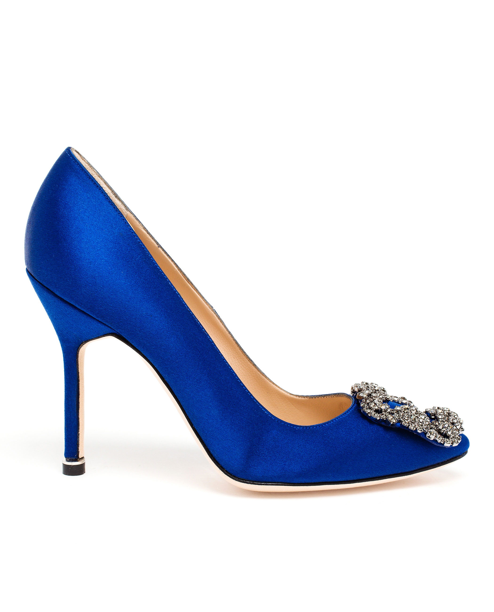 Lyst manolo blahnik hangisi embellished satin pumps in blue for Who is manolo blahnik