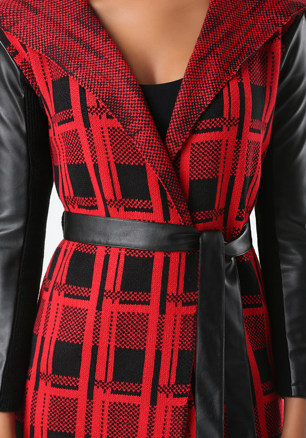 bebe plaid sweater coat in red lyst. Black Bedroom Furniture Sets. Home Design Ideas