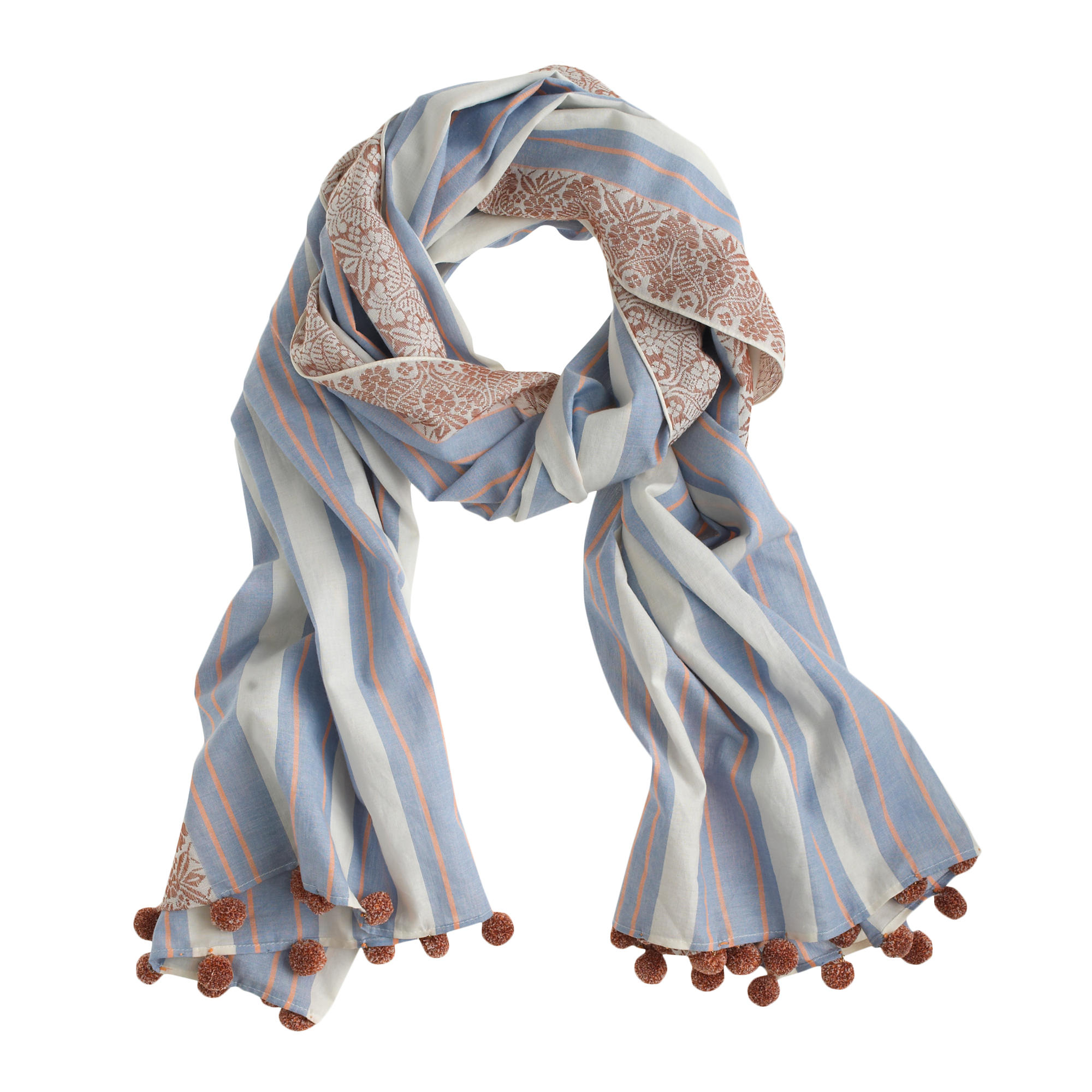 printed striped pom pom scarf in blue lyst. Black Bedroom Furniture Sets. Home Design Ideas
