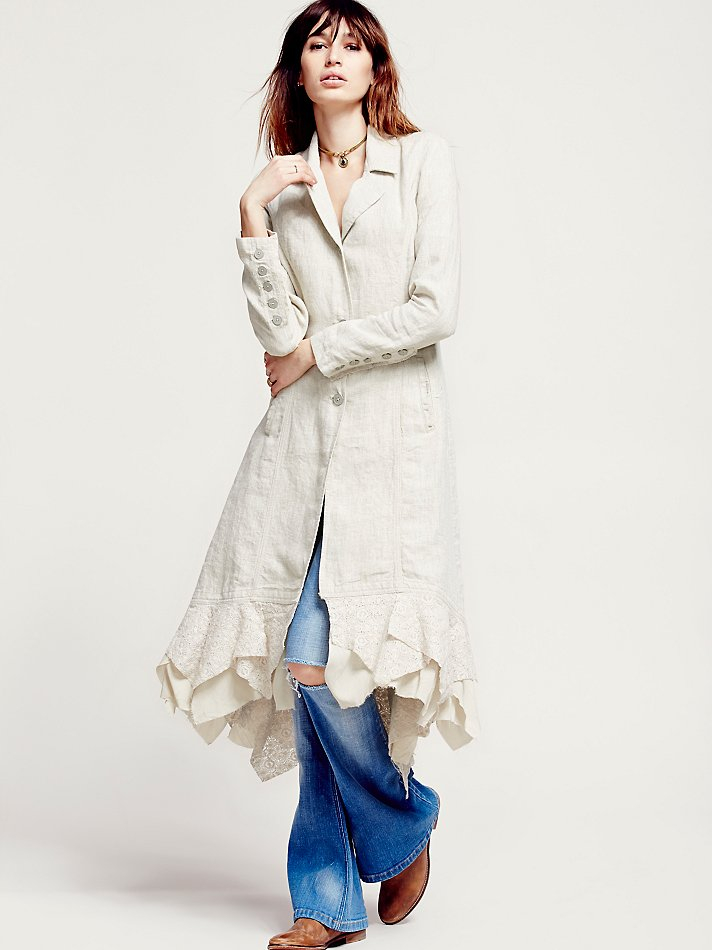 Free People Womens Linen Long Lace Up Jacket In White Lyst