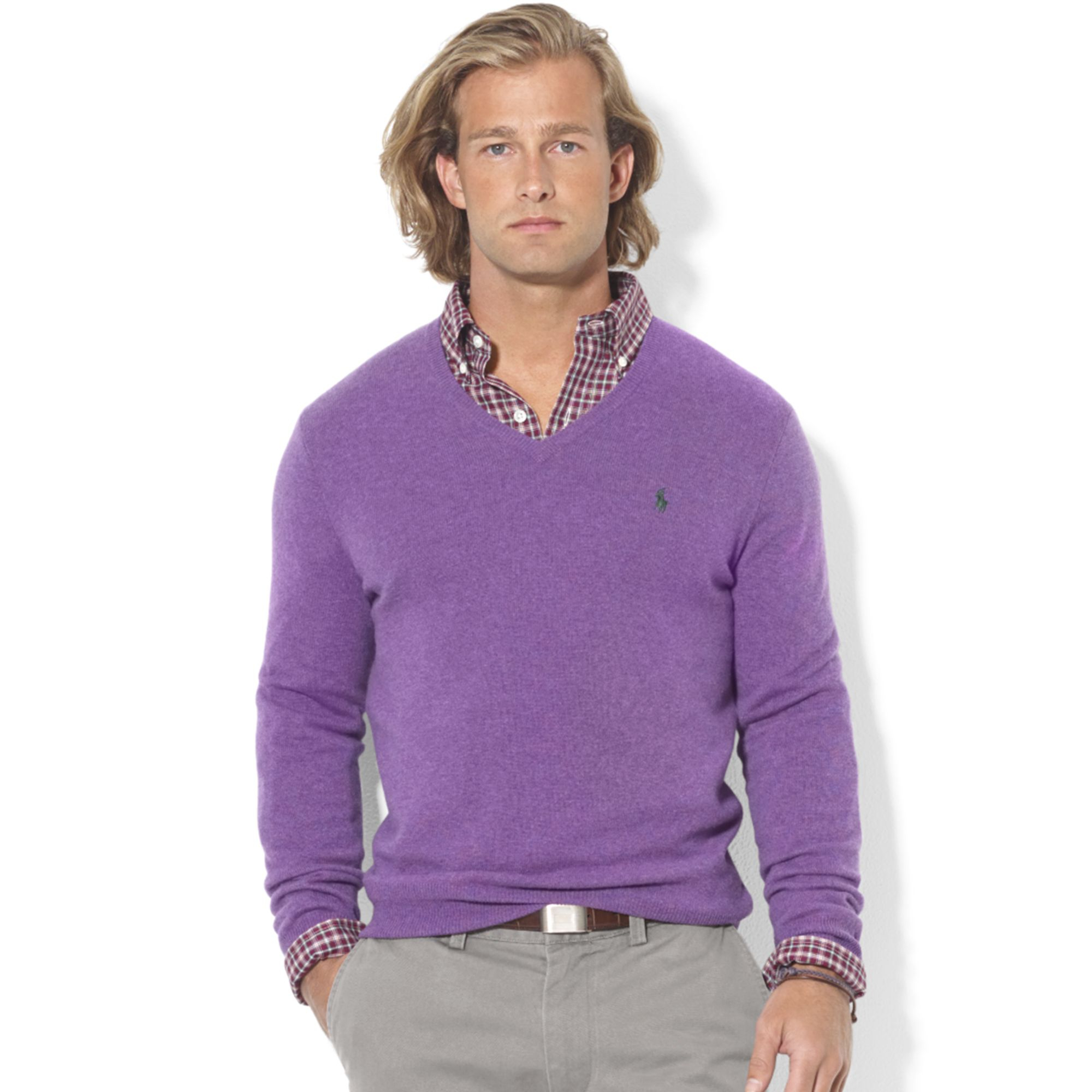 Ralph lauren Vneck Merino Wool Sweater in Purple for Men | Lyst