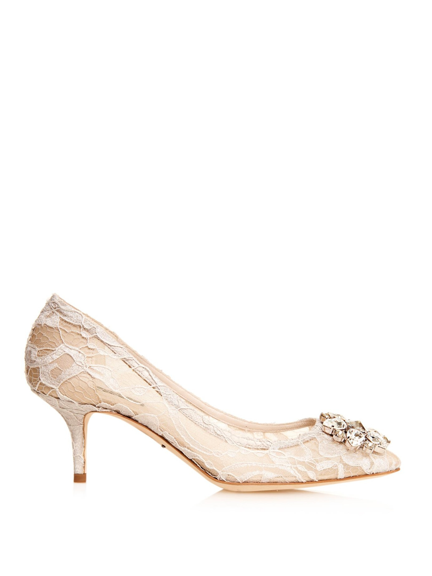 1260cafd55a Dolce   Gabbana Embellished Lace Pumps in Natural - Lyst