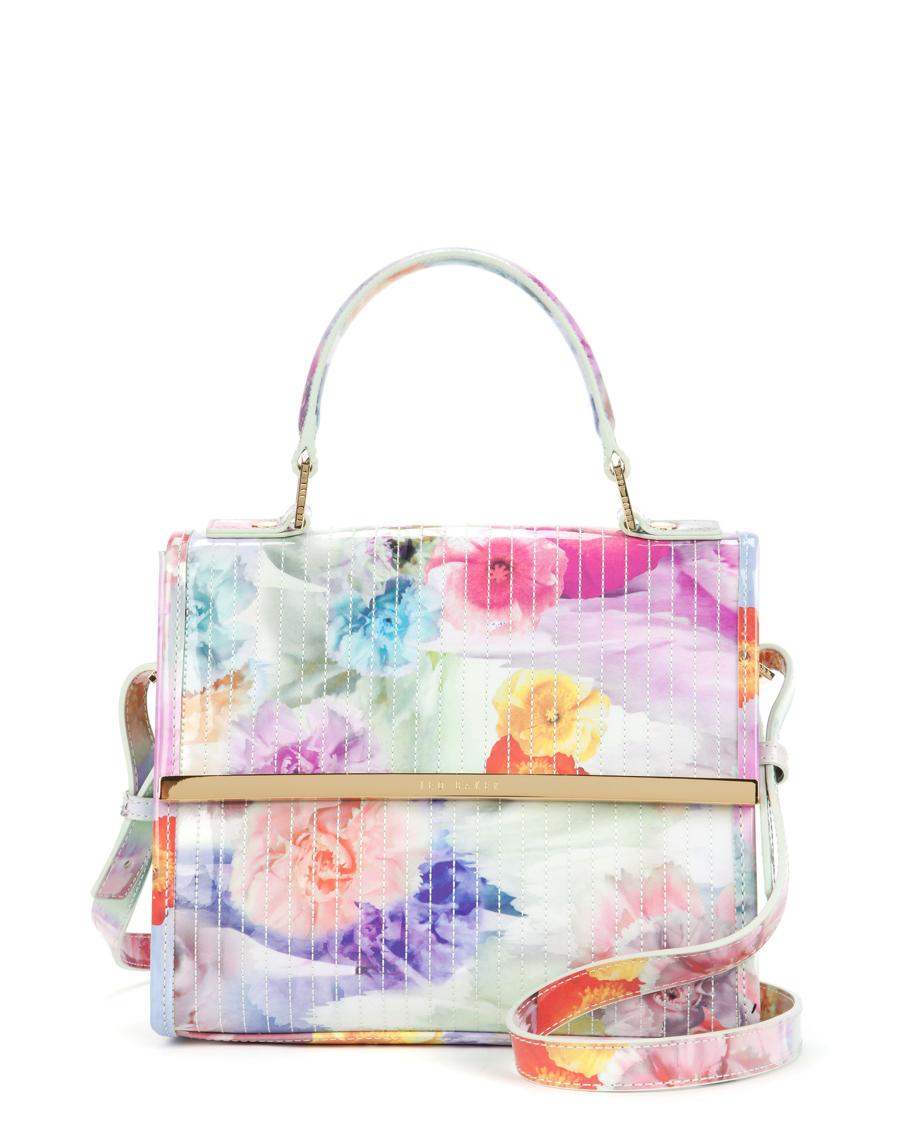 Ted Baker Davena Floral Printed Cross Body Bag In White (Green) | Lyst
