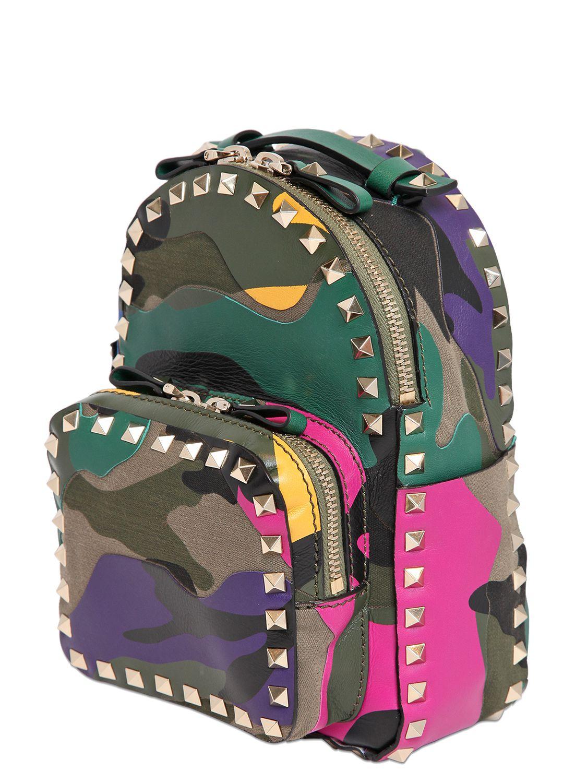Valentino Mini Rockstud Camouflage Backpack Lyst