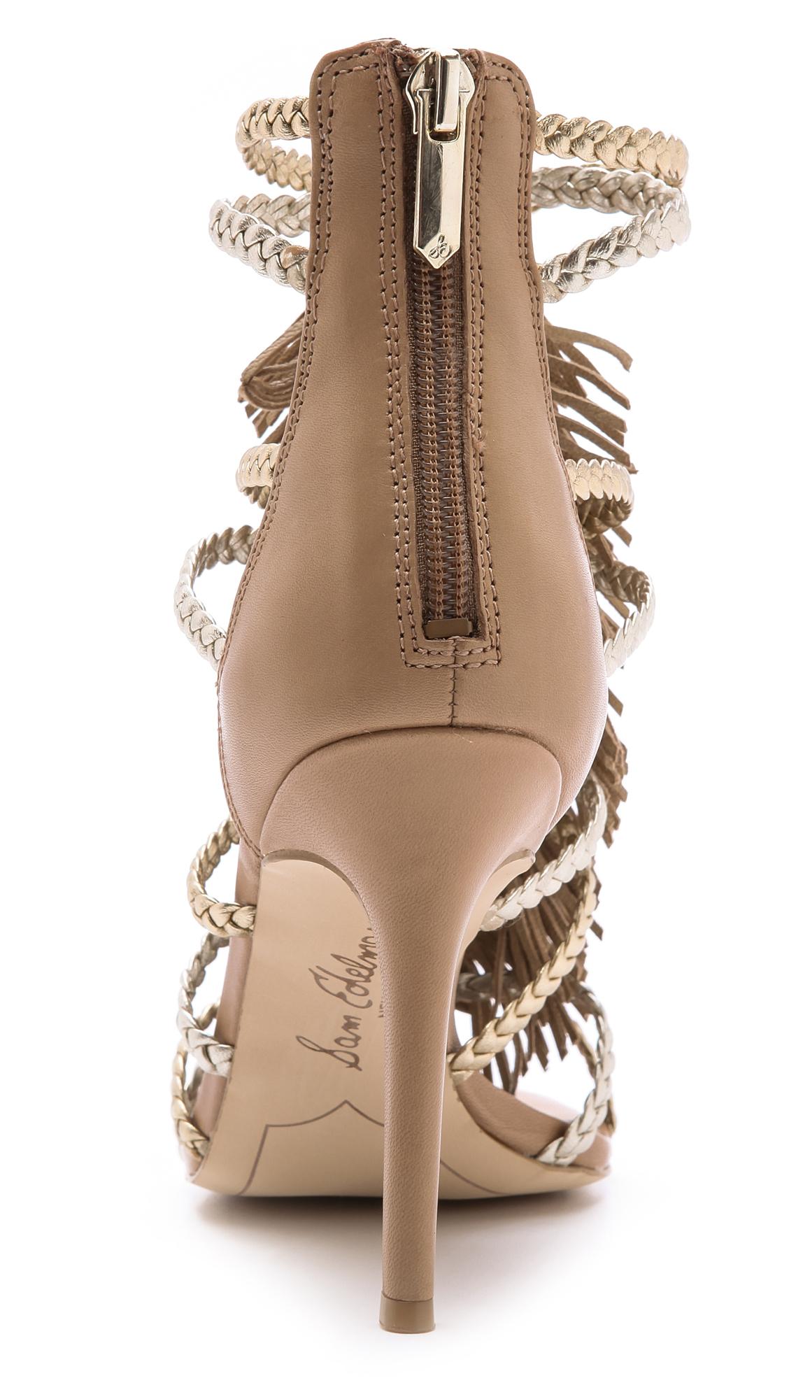 df7ccd98013c Lyst - Sam Edelman Savannah Fringe Gladiator Heels - Nude Gold in ...