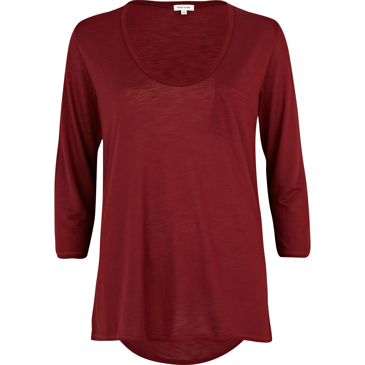 Lyst River Island Dark Red Low Scoop Neck T Shirt In Red