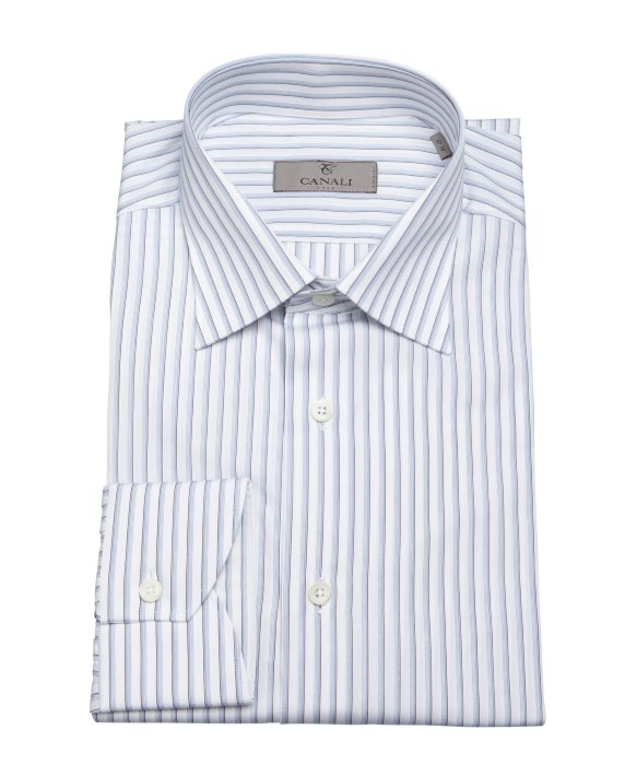 Lyst canali blue and white stripe print cotton spread for Blue and white striped shirt with white collar