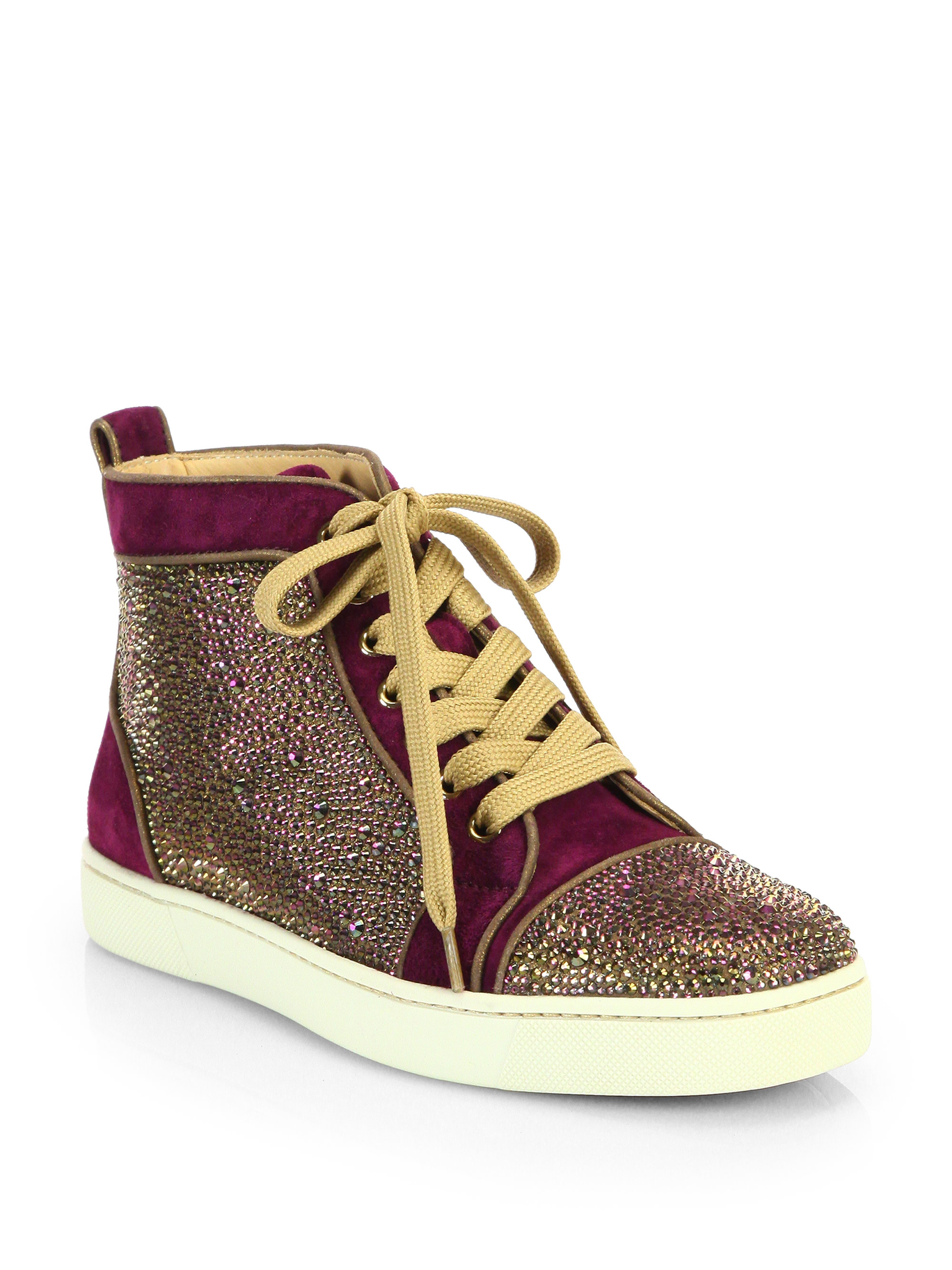 christian louboutin louis woman velour high top sneakers. Black Bedroom Furniture Sets. Home Design Ideas