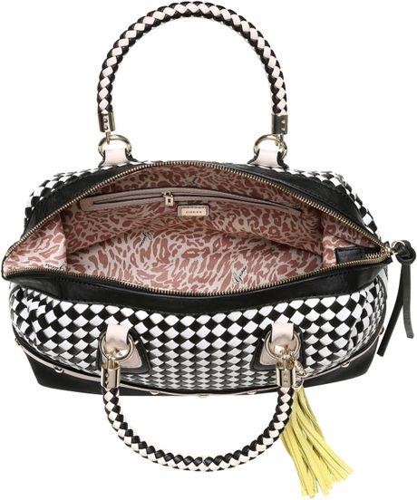 Guess Havana Weave Chelsea Satchel Bag In Black Black
