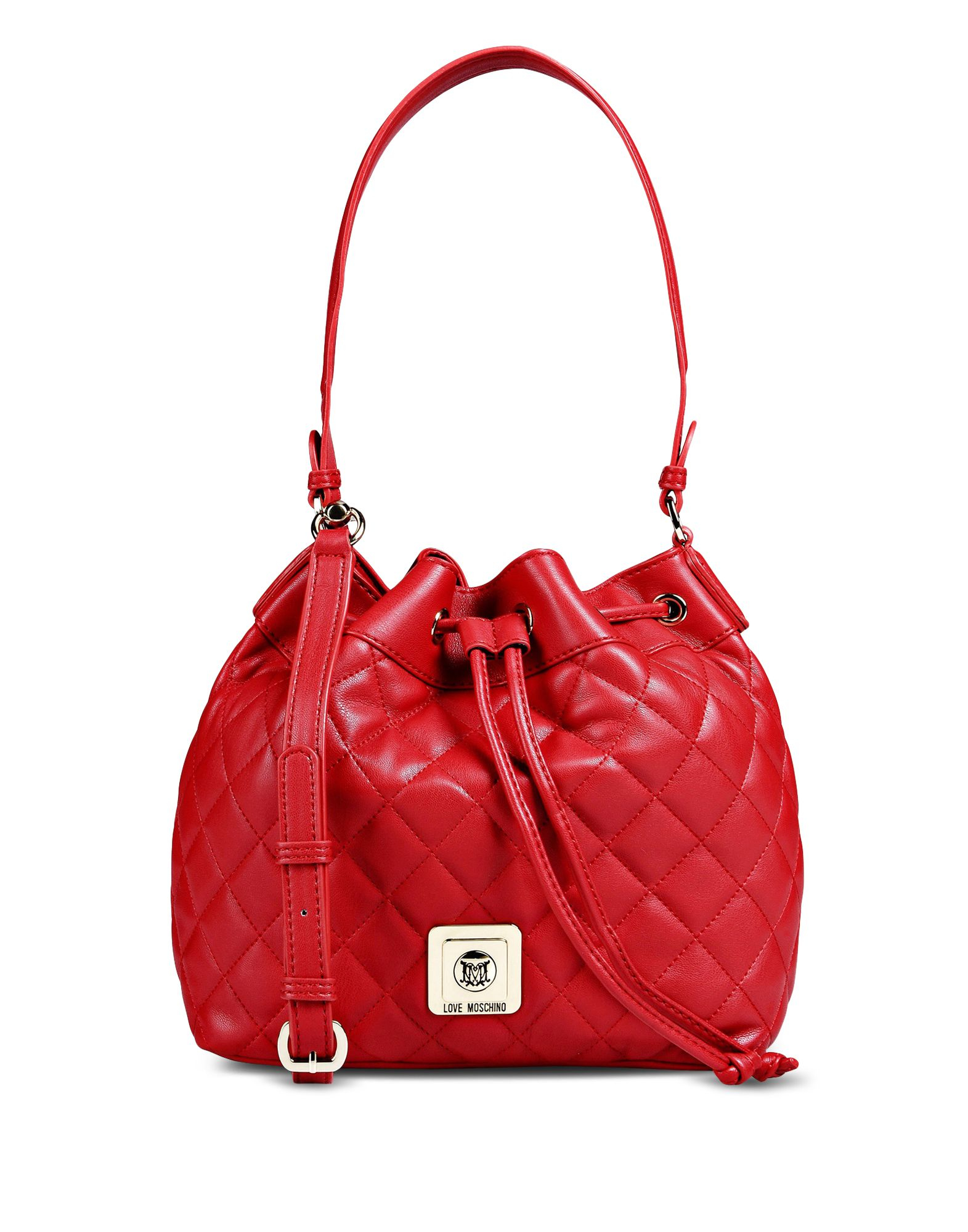 lyst love moschino quilted bucket bag in red. Black Bedroom Furniture Sets. Home Design Ideas