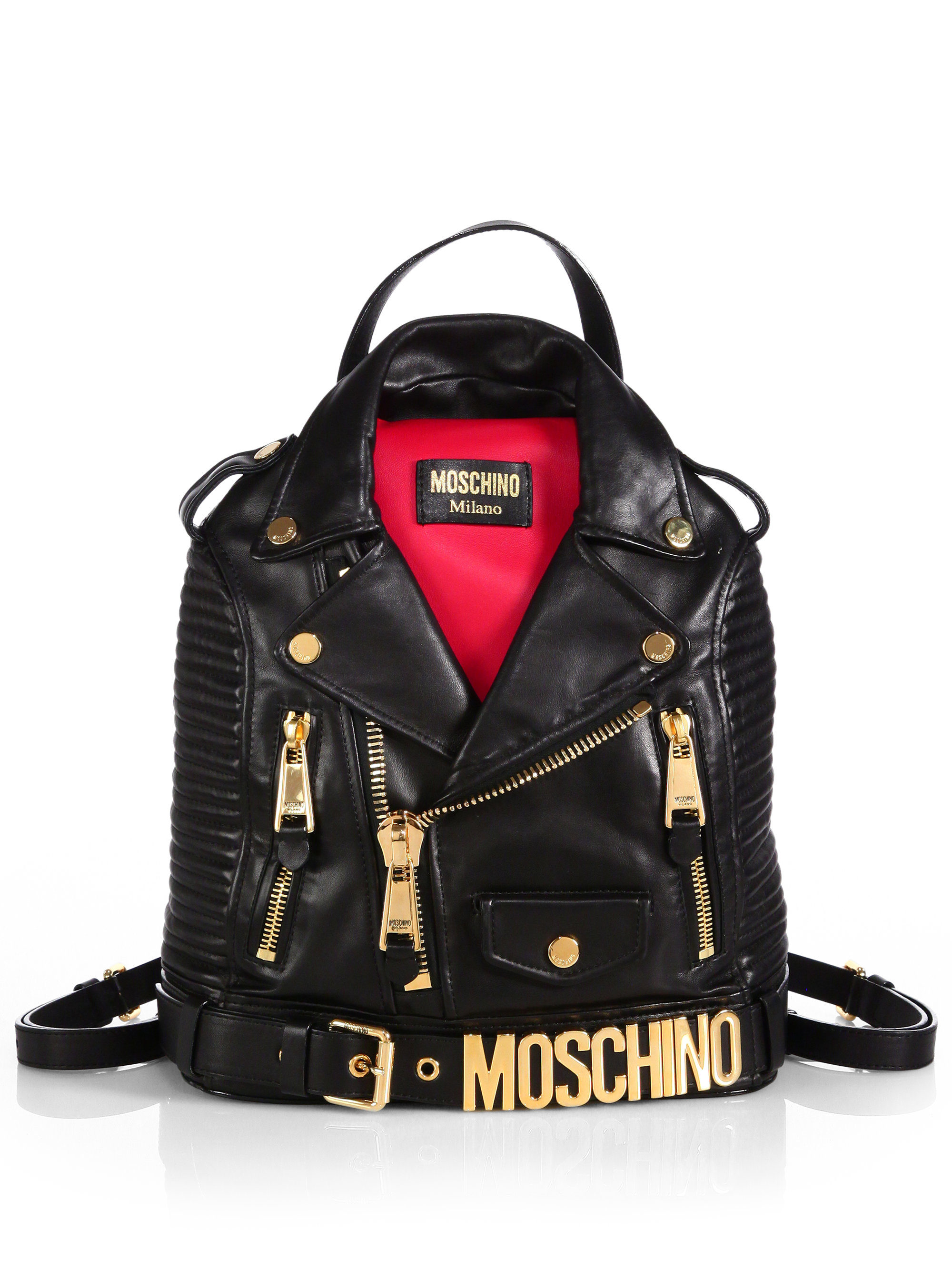 Lyst Moschino Leather Jacket Backpack In Black