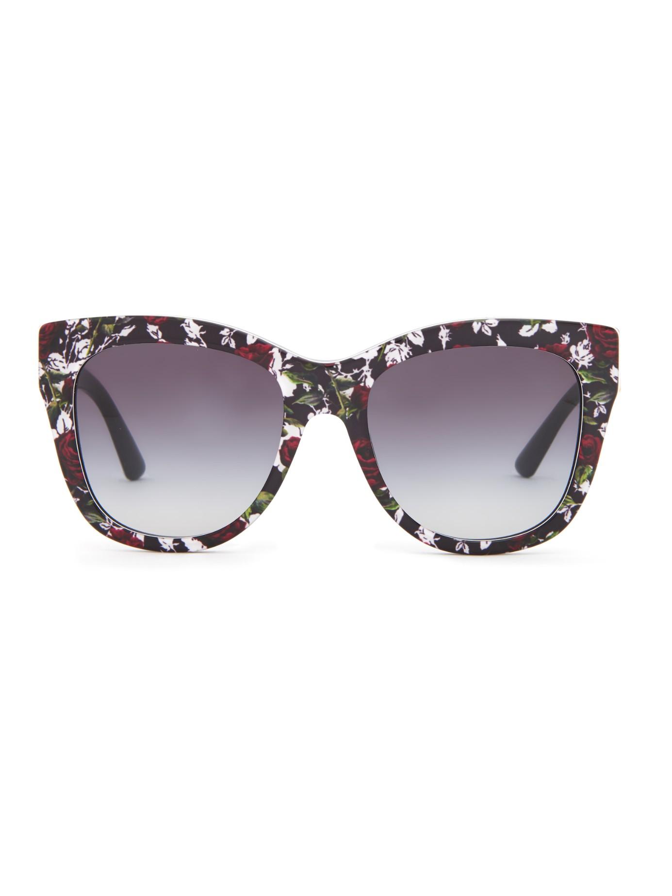 95e317151c44 Lyst - Dolce   Gabbana Rose-print Sunglasses in Black