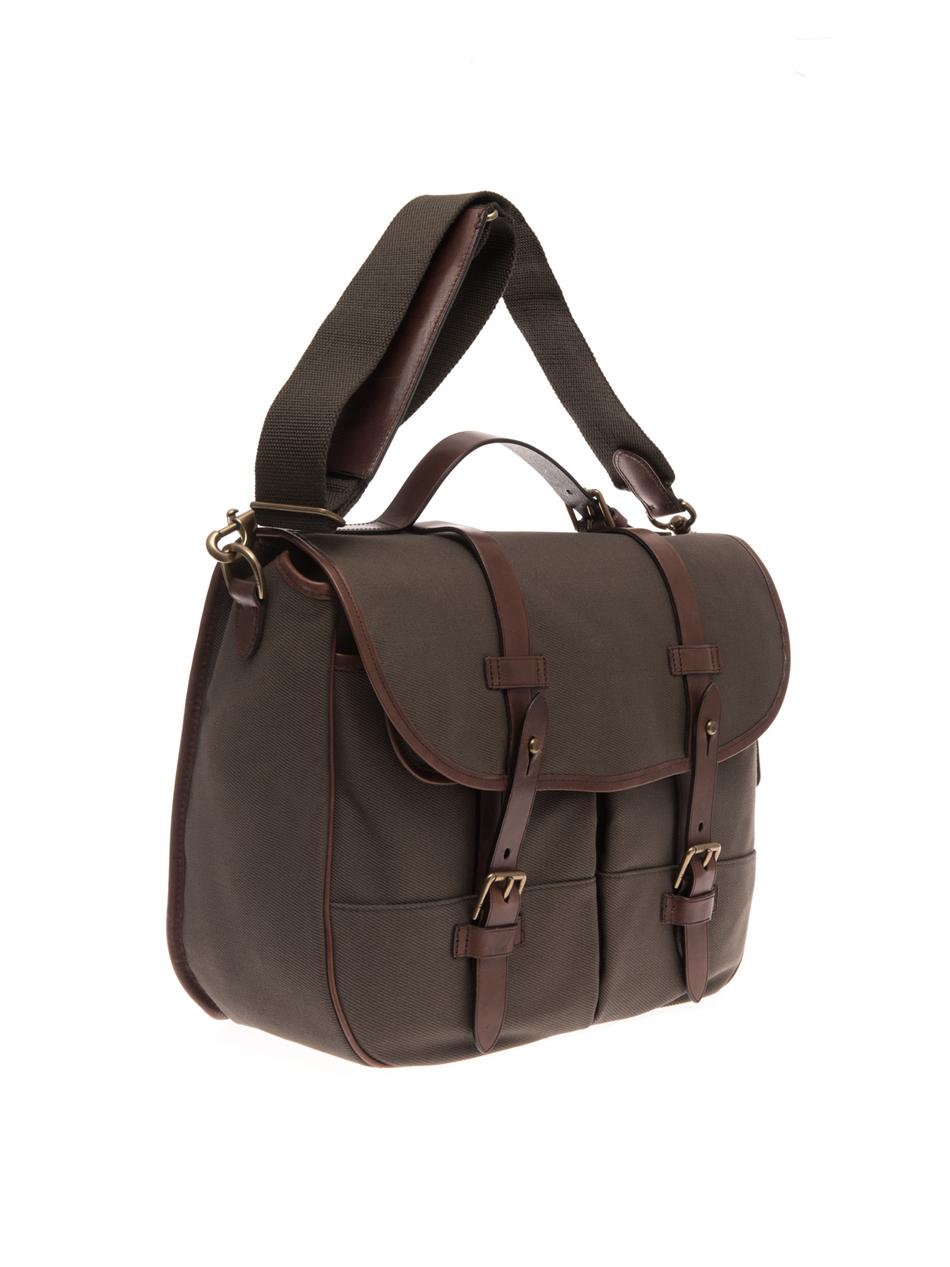 ... switzerland lyst polo ralph lauren canvas and leather messenger bag in  brown 8a9cd fb3ee 1eae53a688