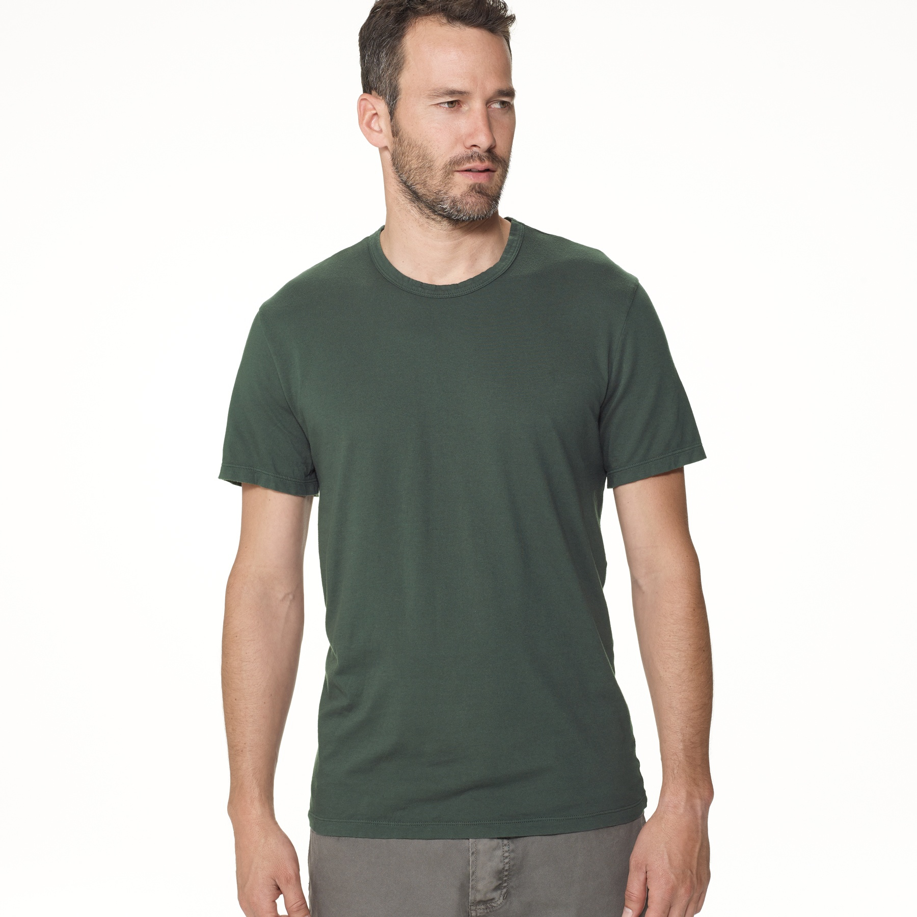 lyst james perse brushed cotton crew neck in green for men