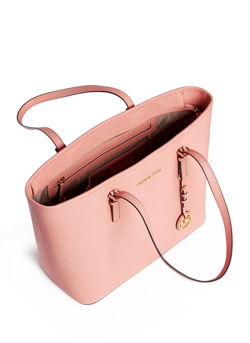 127f94756af9 Michael Kors 'jet Set Travel' Saffiano Leather Top Zip Tote in Pink ...