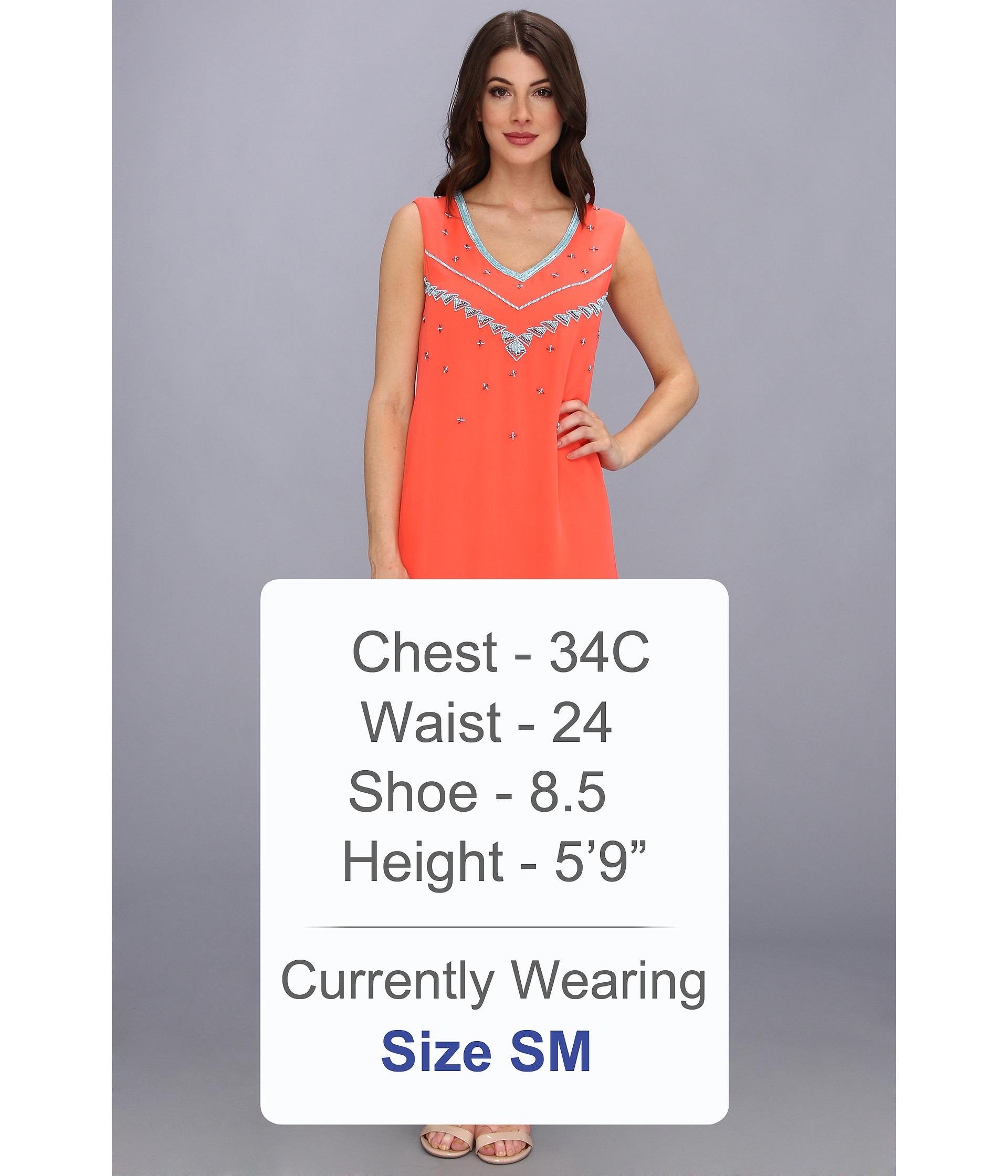 Nicole miller Vneck Flapper Beading Shift Dress in Orange | Lyst
