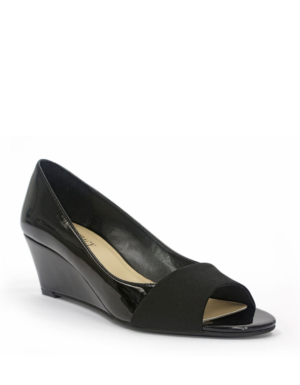 Black Patent Leather Wedge Shoes