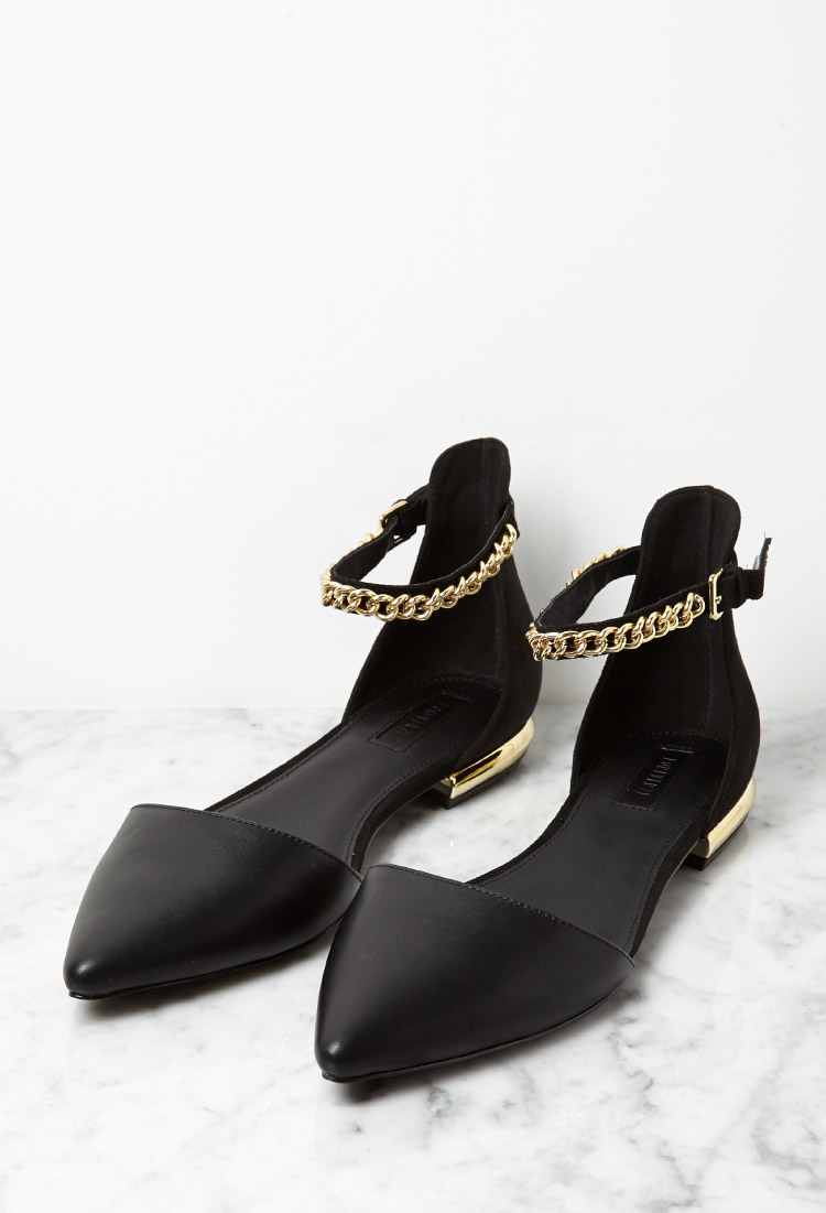 Lyst - Forever 21 Faux Leather Chain Ankle-strap Flats in Black 10699e4d2