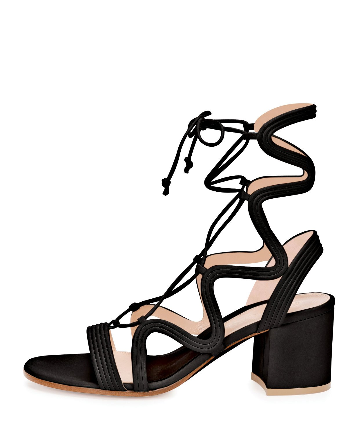 Gianvito rossi Loop-caged Low-heel Gladiator Sandal in Black | Lyst