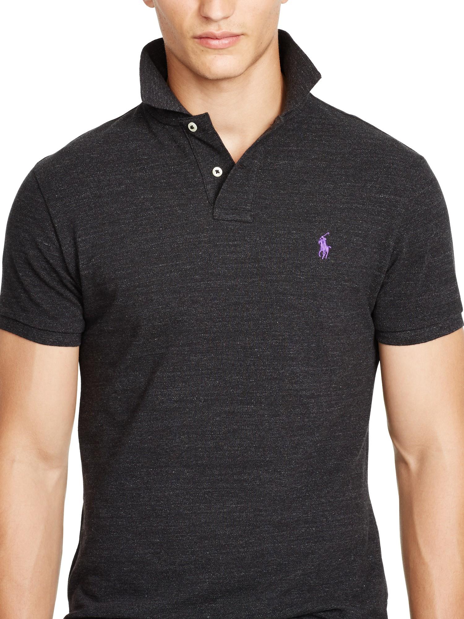 302f098ae15c3 Polo Ralph Lauren Custom Fit Polo Shirt in Black for Men - Lyst