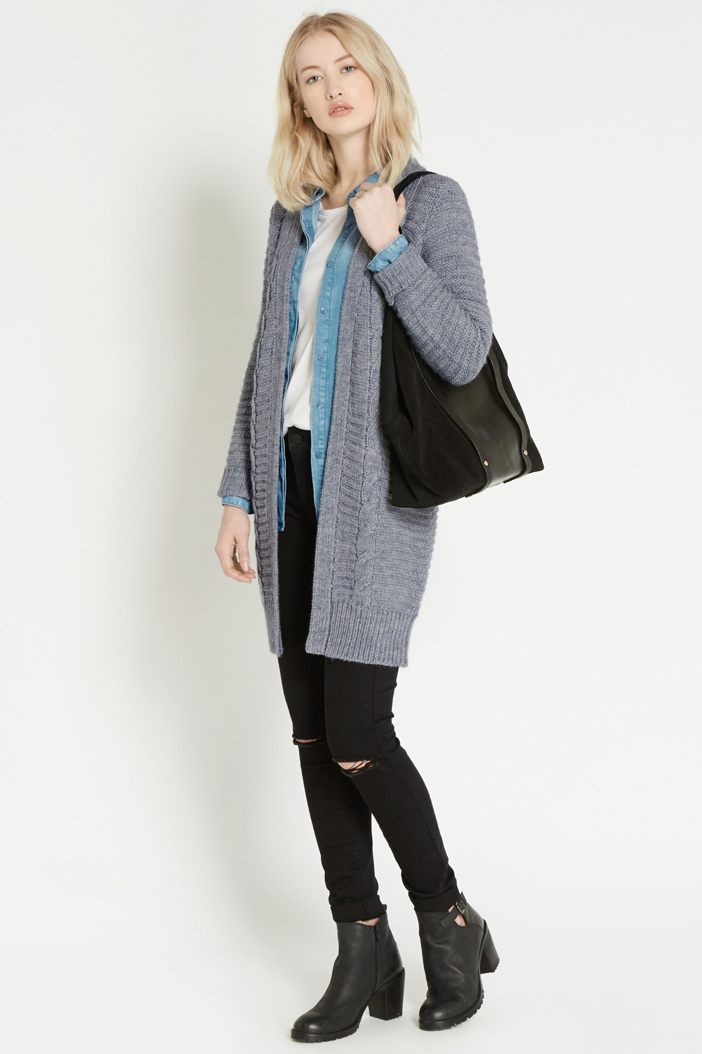 Oasis Chunky Longline Cardigan in Gray | Lyst