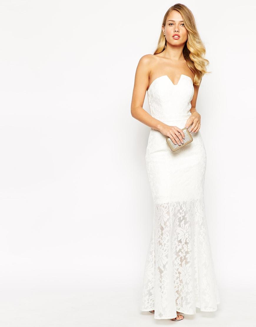 ff1adf2da Jarlo Annabelle Fishtail Maxi Dress In All Over Lace in White - Lyst