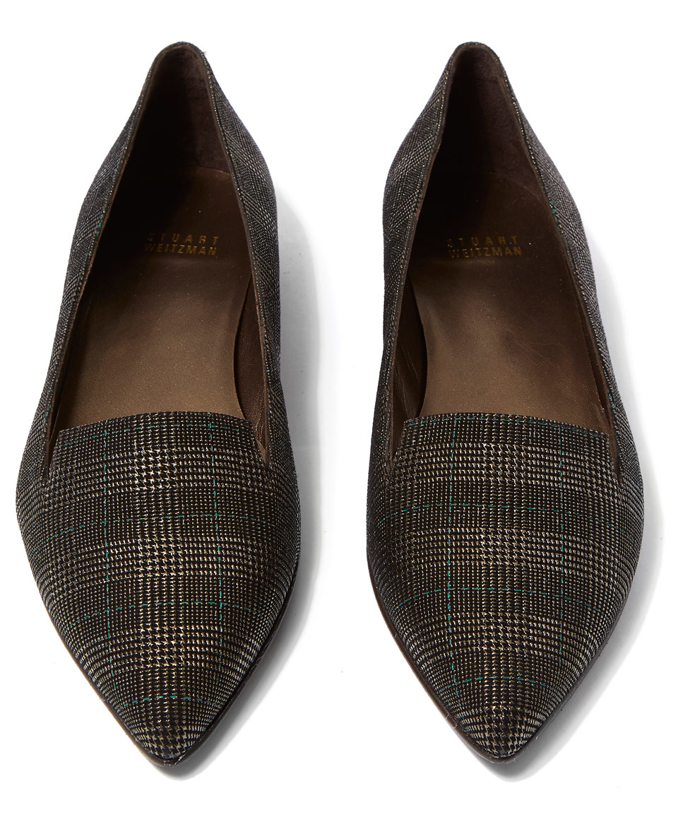 Stuart Weitzman Metallic Plaid Flats professional for sale EDT10PV
