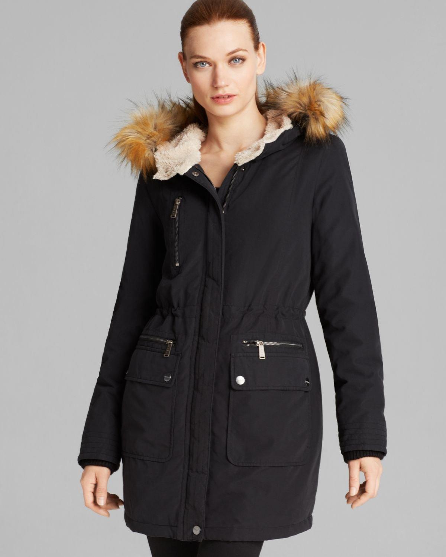 Dkny Anorak - Faux Fur Trim Hooded in Black | Lyst