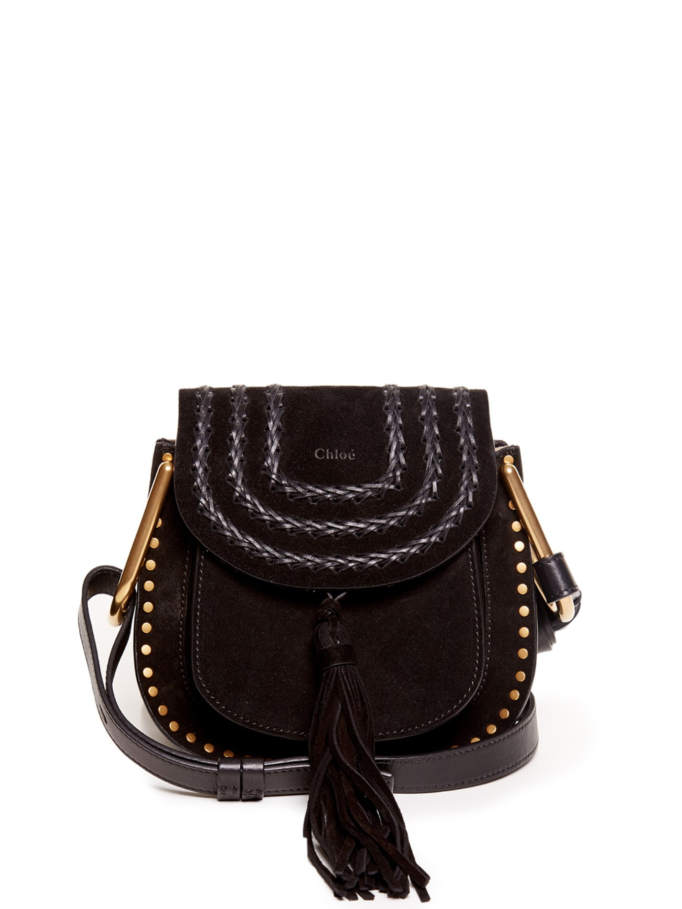 Chloé Hudson Small Suede Shoulder Bag in Black | Lyst