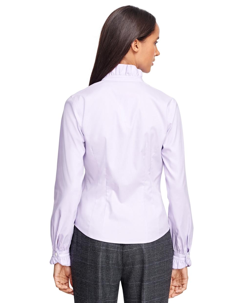 Brooks Brothers Non Iron Ruffle Collar Dress Shirt In