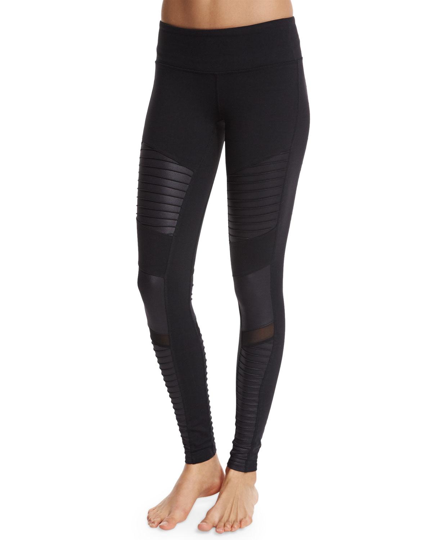 alo yoga moto full length sport leggings in black lyst. Black Bedroom Furniture Sets. Home Design Ideas