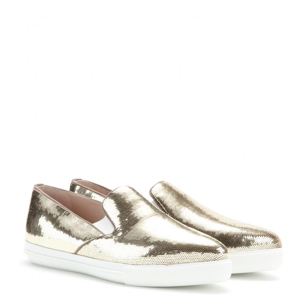 Miu Miu Sequin Slip-On Sneakers Véritable Prix Pas Cher Prix D'usine Payer Avec Visa De Sortie OLlJe48r