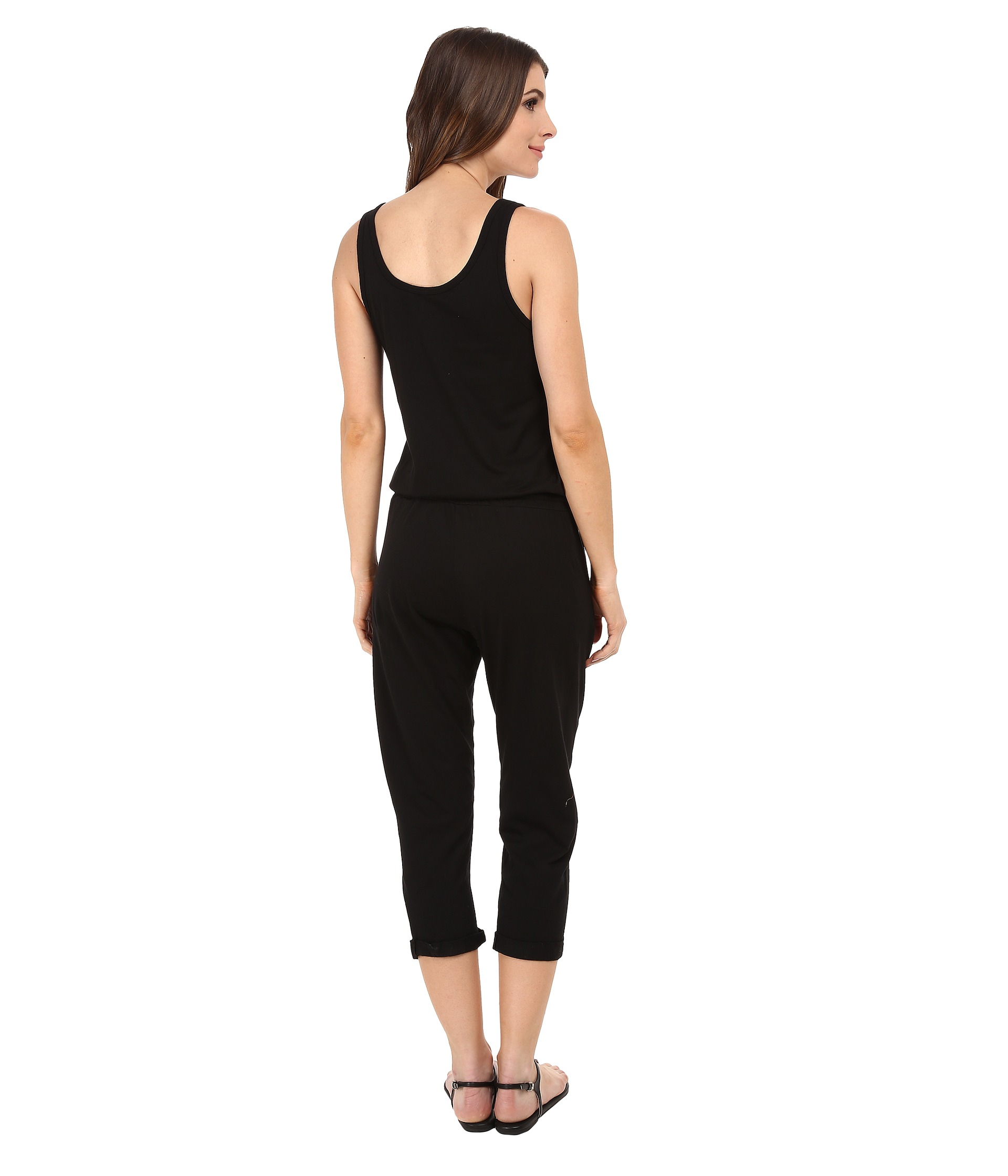 Michael stars Cotton Modal Tank Jumpsuit in Black | Lyst