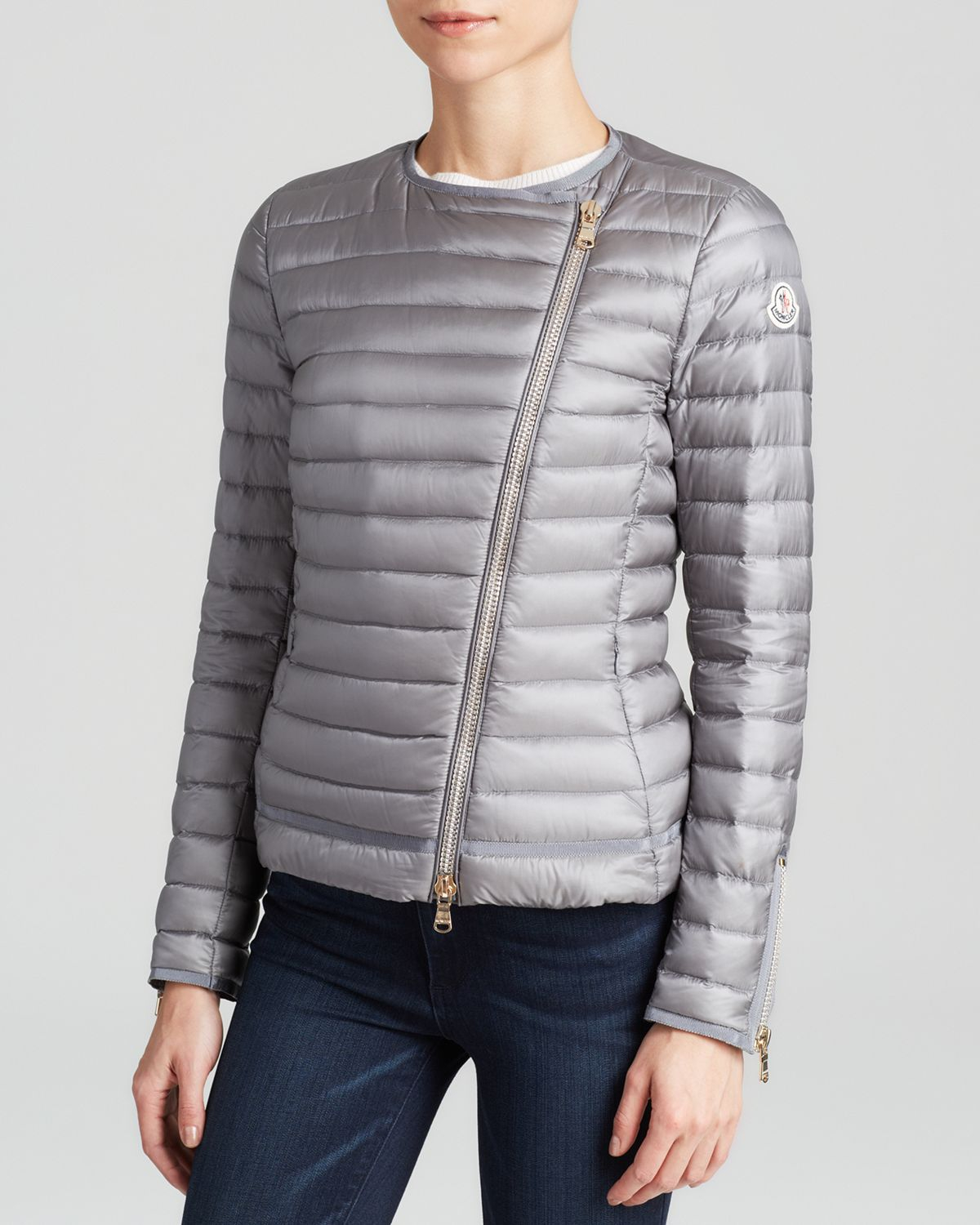 3a46963dab2 Moncler Jacket - Amey Asymmetrical Collarless Packable Down in Gray ...