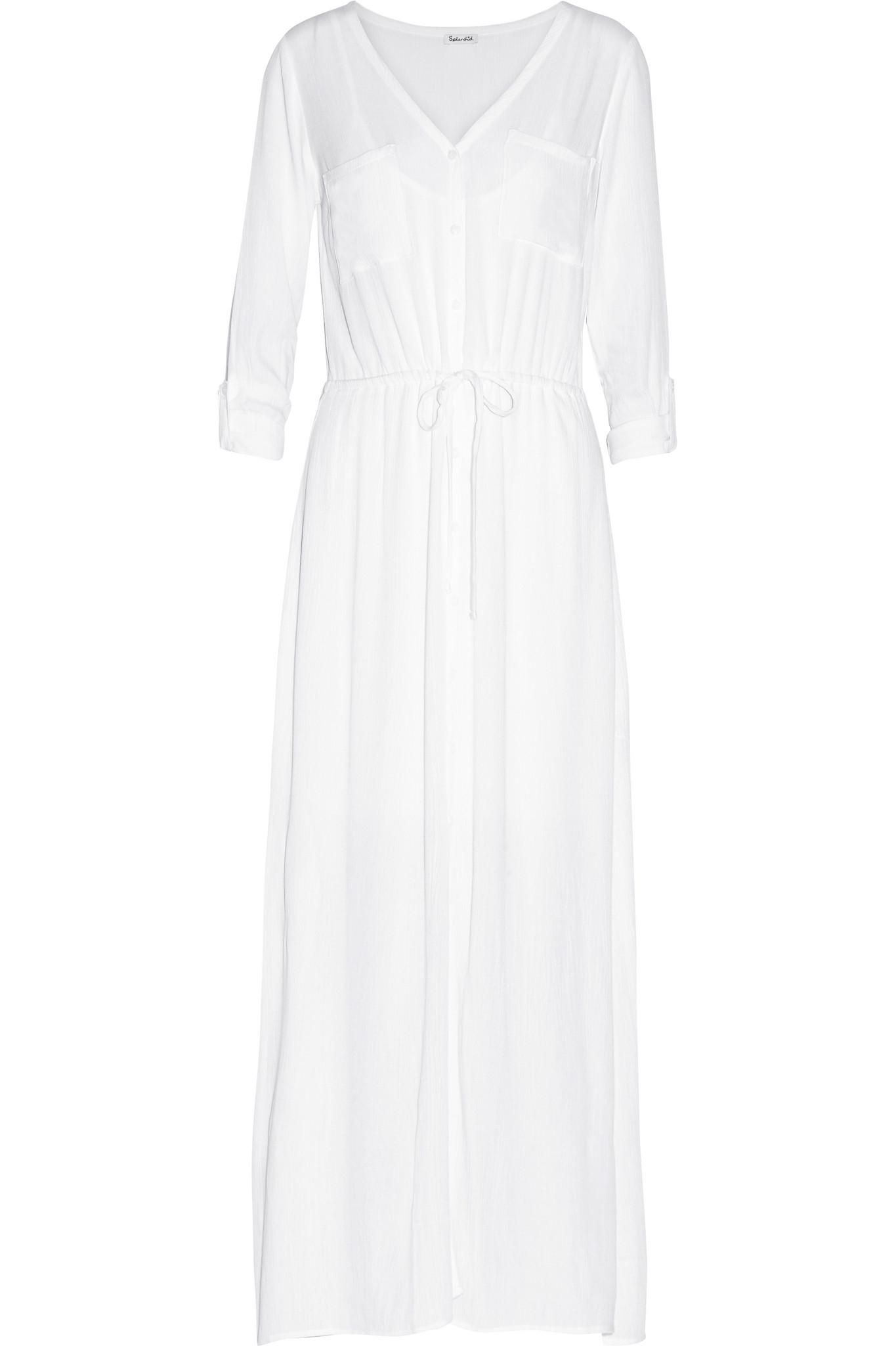 d73066a63 Splendid Crinkled-gauze Maxi Dress in White - Lyst