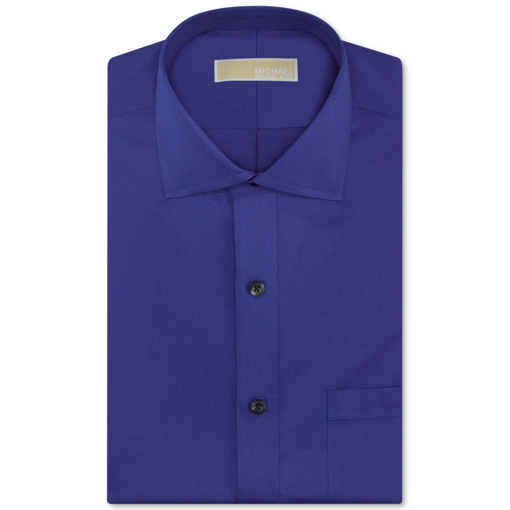 Michael Kors Michael No Iron Twill Solid Dress Shirt In