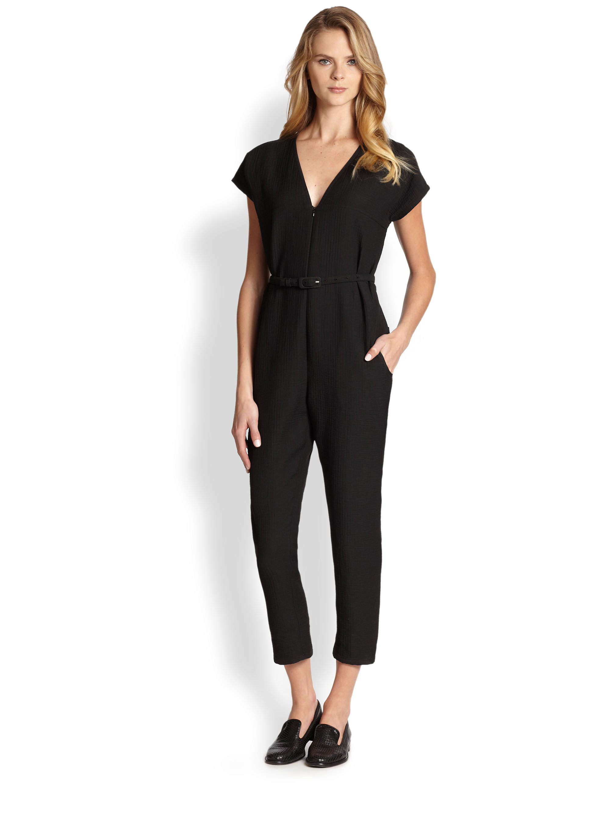 Rachel comey Belted Jumpsuit in Black | Lyst