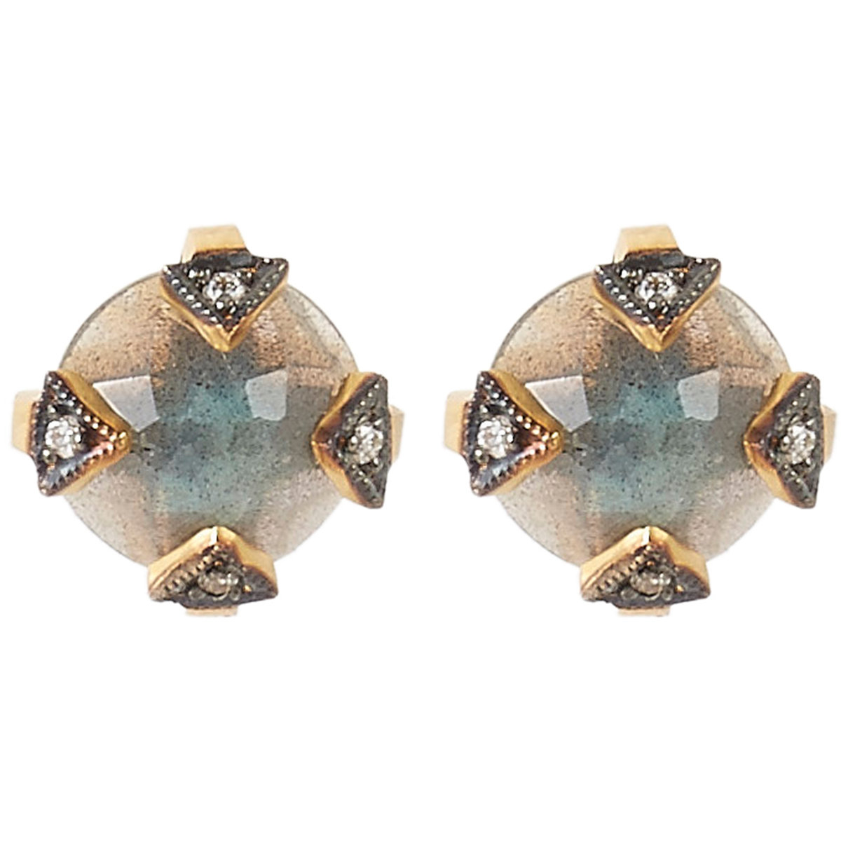 cathy waterman gemstone studs in metallic lyst