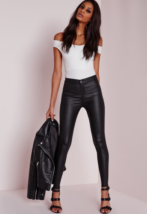 5efe50bc7931 Lyst - Missguided Vice High Waisted Wet Look Super Stretch Jeans ...