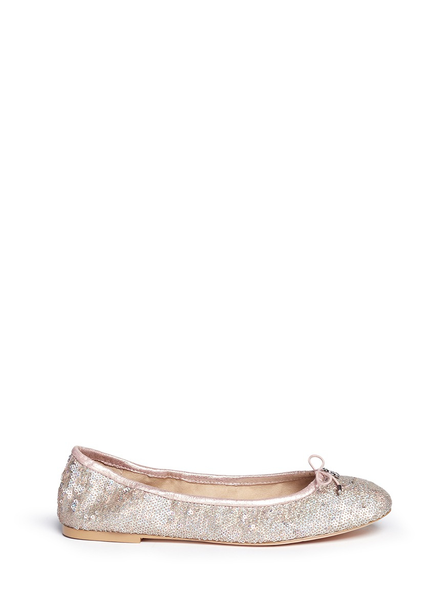 d83b00b09d034 Lyst - Sam Edelman  felicia  Sequin Metallic Leather Ballerinas in Pink